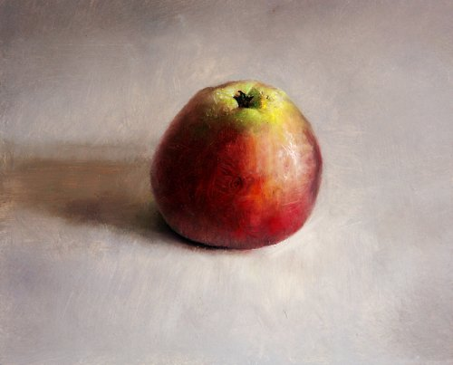 Still life with apple, light study.