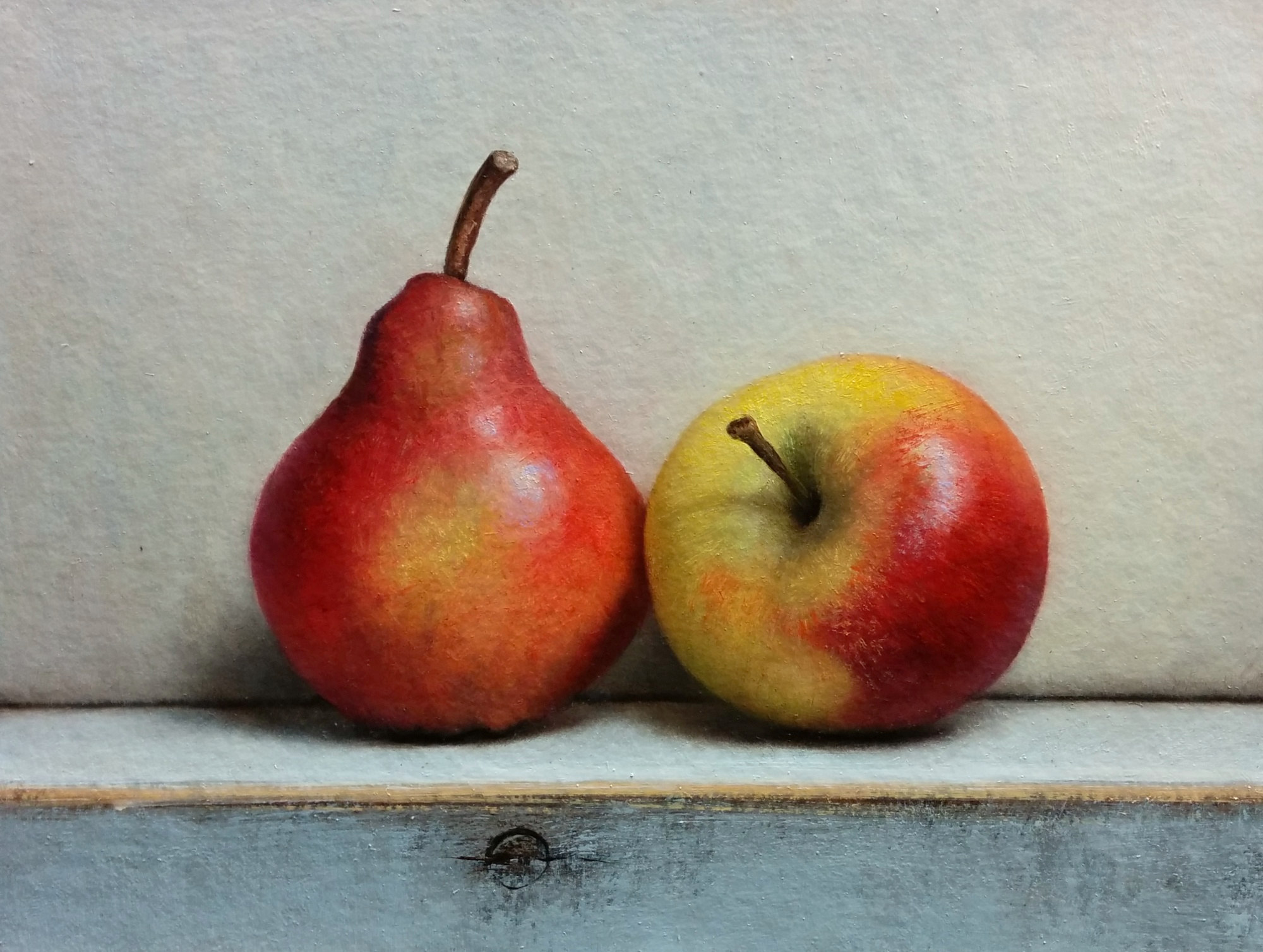 Traditional Still life with apple and pear