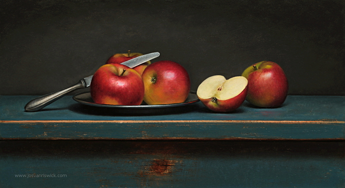 Still life with apples and knife