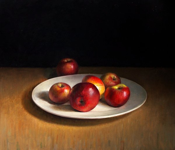 Still life with apples on plate
