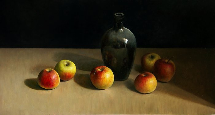 Still life with bottle and apples