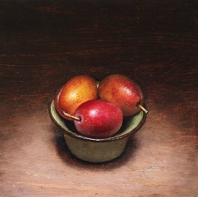 Still life with bowl of plums