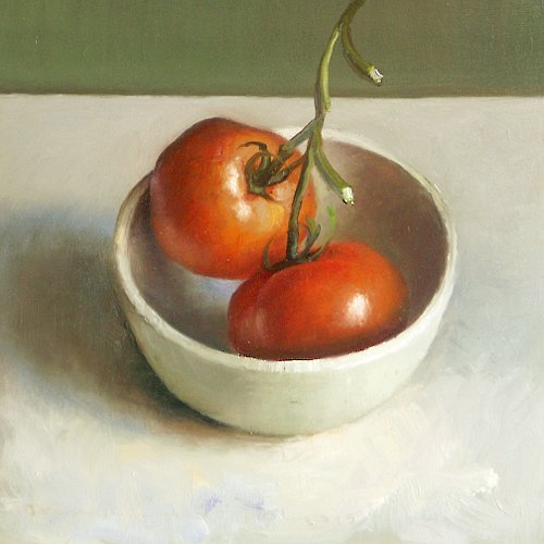 Still life with bowl of tomatoes