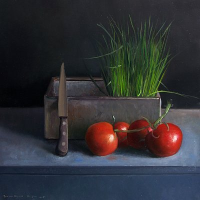 Still life with Chives and Tomatoes