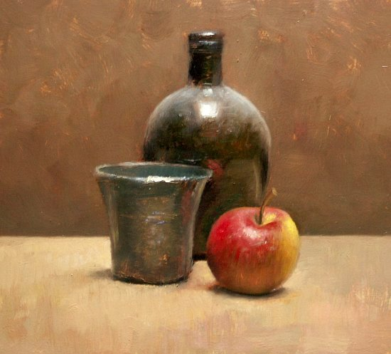 Still life with tin cup and apple