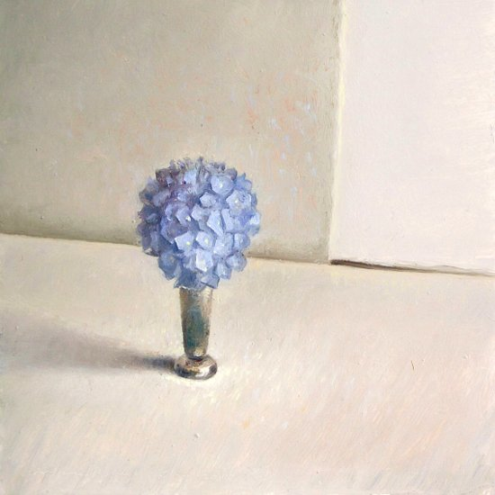 Still life with hydrangea and cardboard
