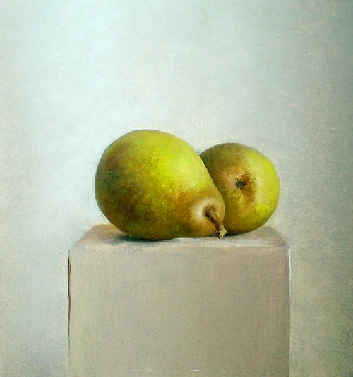 Two pears on a box