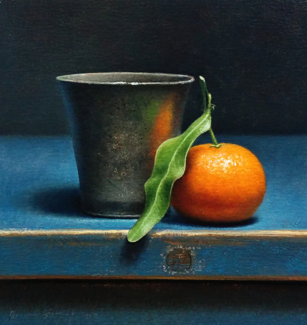 Dutch Still life with pewter cup and tangerine