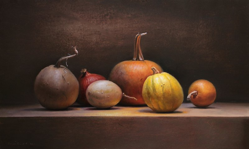 Still life with pumpkins