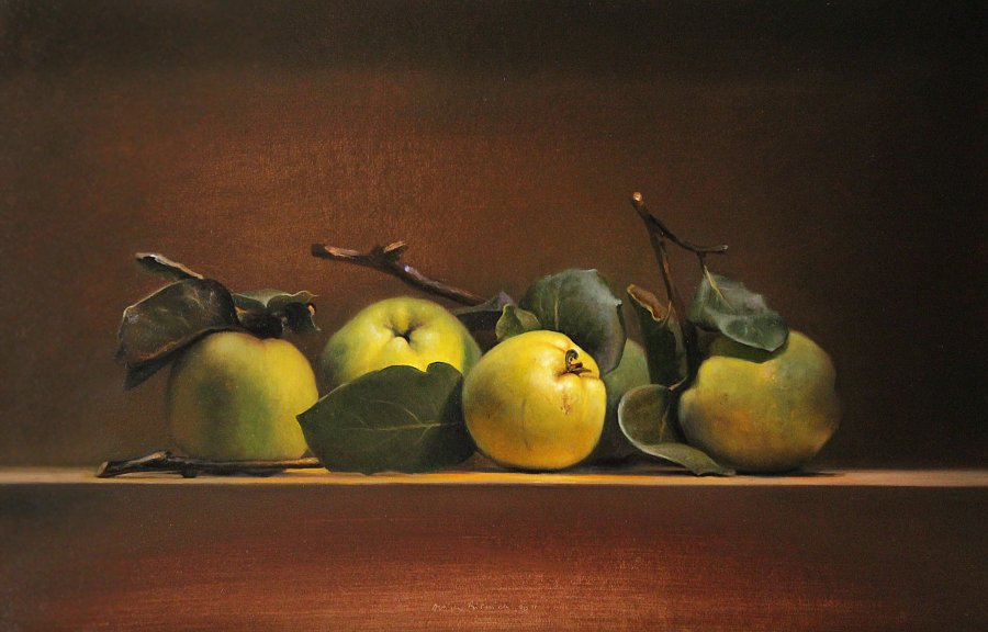 Still life with 5 quinces