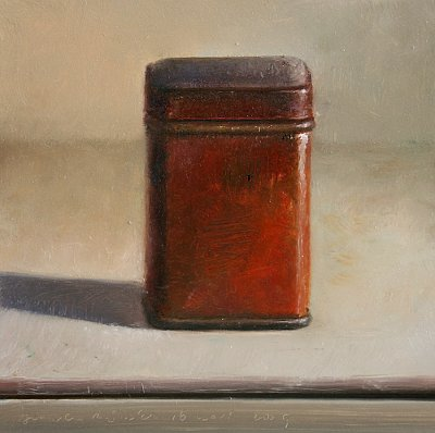 Still life with red box.