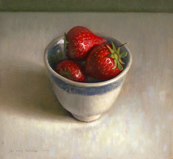 Still life with cup with strawberries