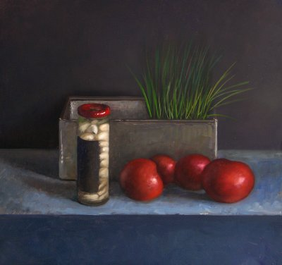 Still life with Tomatoes, Chives and Garlic