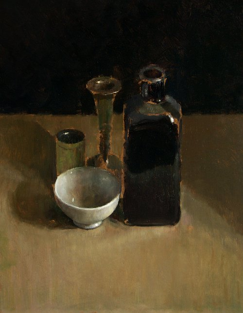 Still life with bottle and vase