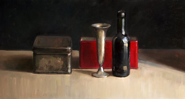 Still life with vase and red box