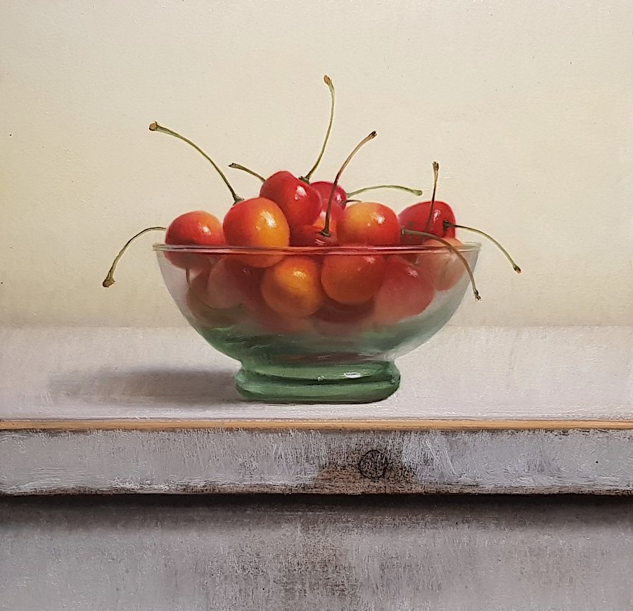 Still life with yellow cherries